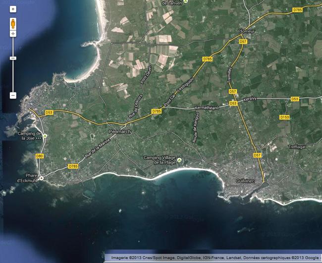 carte satellite la plage le guilvinec